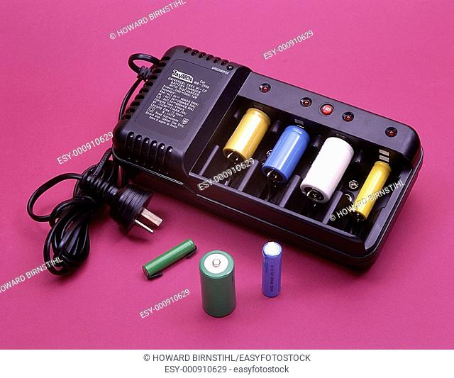 Close up of battery charger in a studio product shot