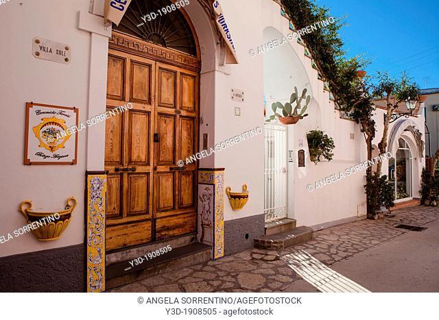 beautiful street entrance in Capri, Bay of Naples, Italy