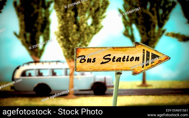 Street Sign the Direction Way to Bus Station