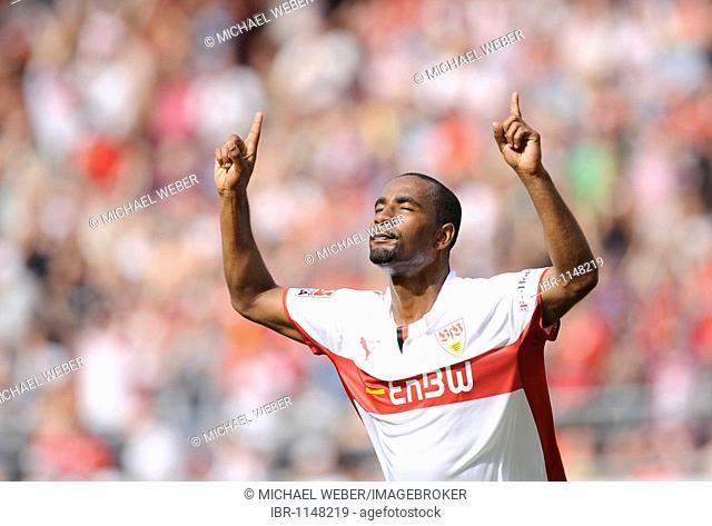 Cacau, VfB Stuttgart, celebrating a goal, eyes closed