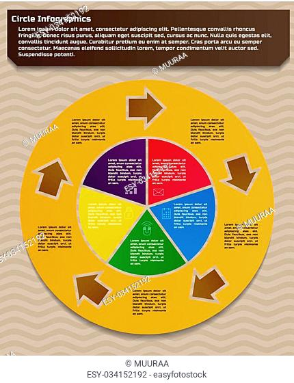 Infographic design template. Circular style of infographics for presentation of circular process in your business. Circle is divided into five steps