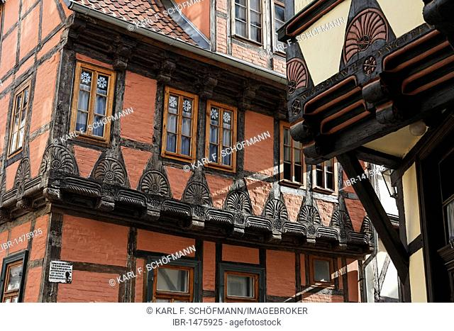 Historic half-timbered house with beautifully carved beams, Quedlinburg, Harz, Saxony-Anhalt, Germany, Europe