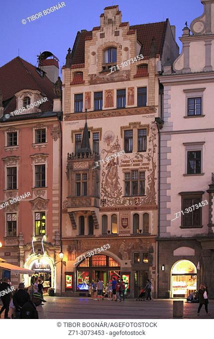 Czech Republic, Prague, Old Town Square, historic architecture, painted house,
