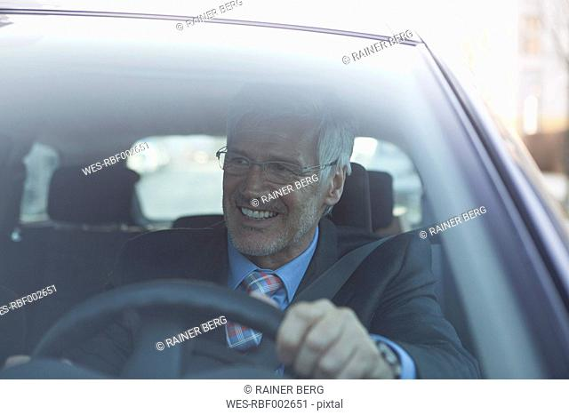 Portrait of smiling businessman in his car