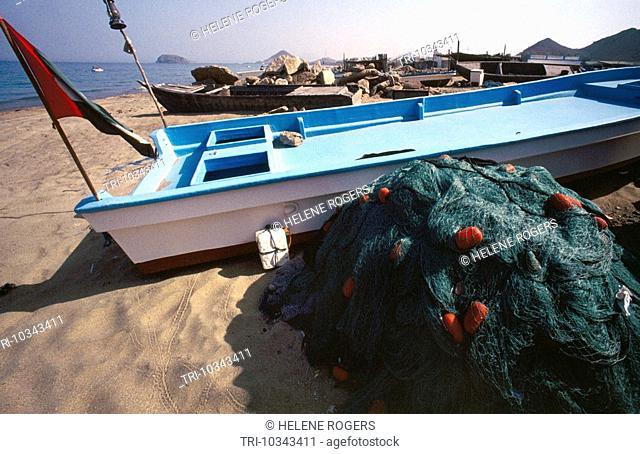Sharjah UAE Fishing Net & Boats Khor Fakkan