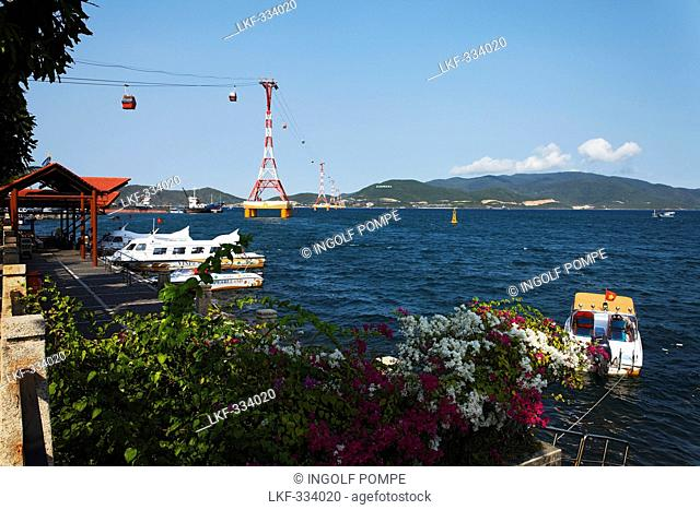 Gondola cableway, Vinpearl Island Resort in background, Hon Tre, Nha Trang, Khanh Ha, Vietnam