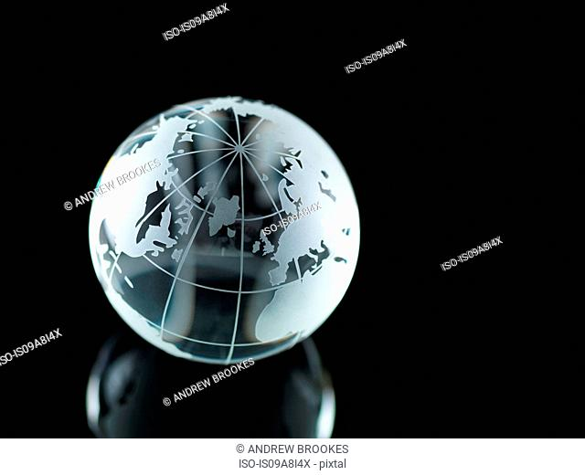 Glass Globe illustrating North America, Europe, Russia and Africa