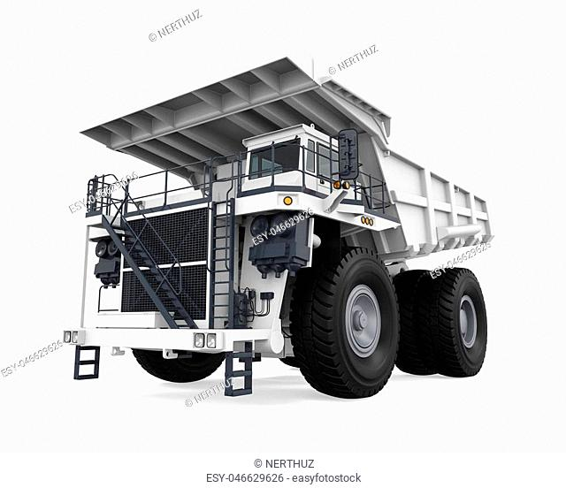 White Mining Truck isolated on white background. 3D render