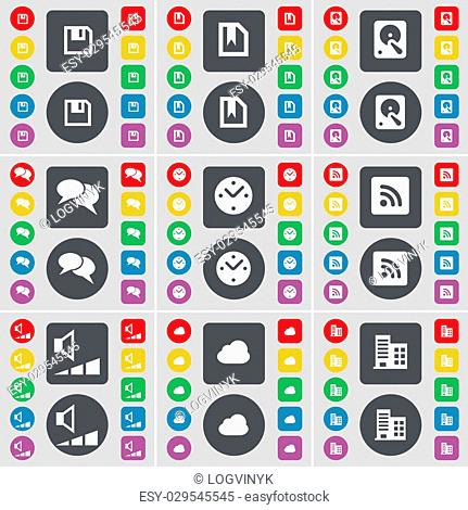 Floppy, File, Hard drive, Chat, Clock, RSS, Volume, Cloud, Building icon symbol. A large set of flat, colored buttons for your design. illustration