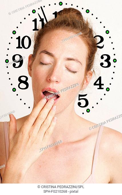 Insomnia and body clock, conceptual image