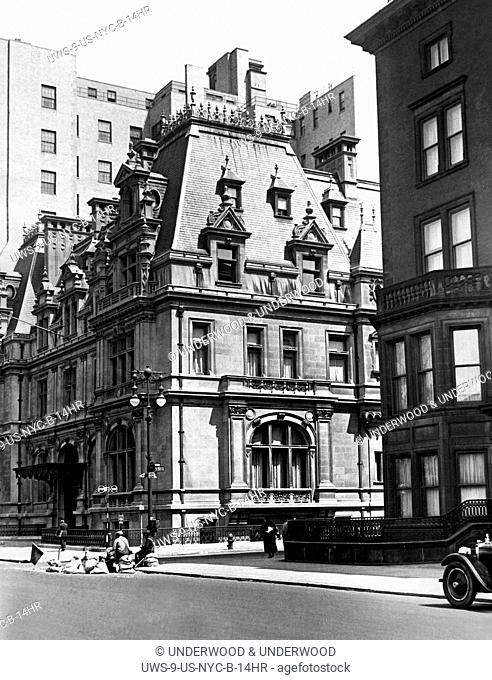 New York, New York: c. 1929 The Caroline Astor home at 5th Avenue and 65th Street. Built in 1893, it was the grandest mansion on 5th Avenue