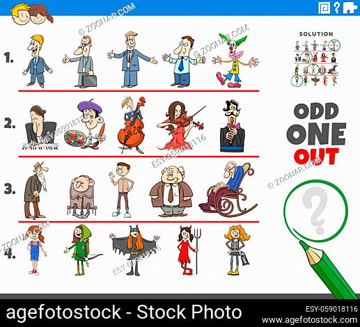 Cartoon illustration of odd one out picture in a row educational game for elementary age or preschool children with funny people characters