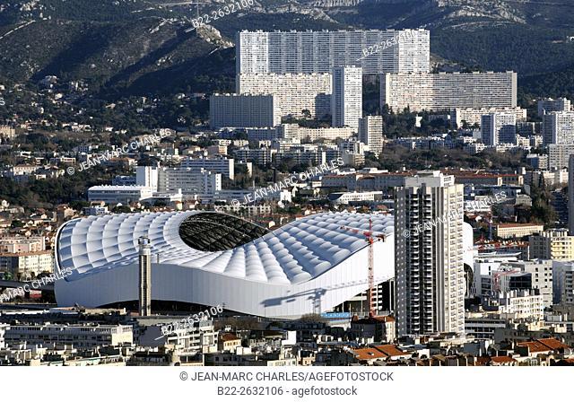 The Stade Velodrome, home stadium of the Olympique de Marseille, football club of Ligue 1..Marseille, Bouches-du-Rhône, région PACA, Provence-Alpes-Côte d'Azur