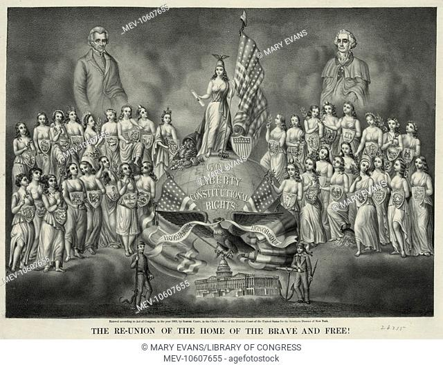 The re-union of the home of the brave and free!. A somewhat premature allegory of reconciliation between the North and South