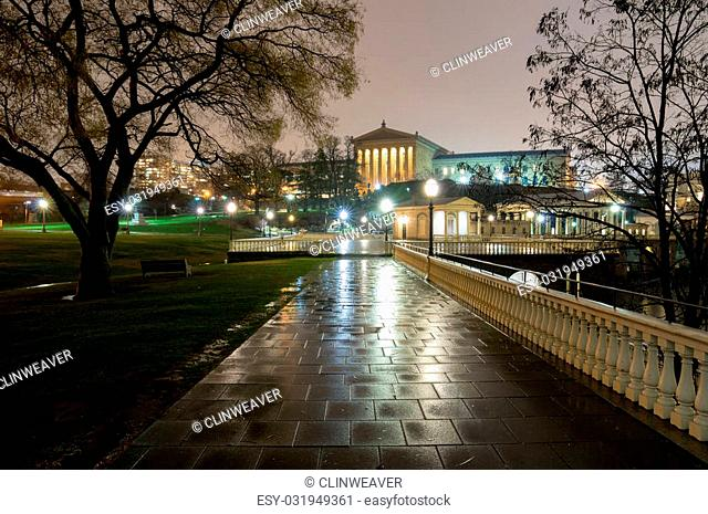 A park in downtown Philadelphia in the evening rain
