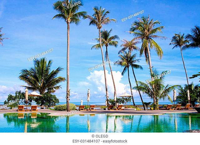 Swimming pool near the sea , Thailand