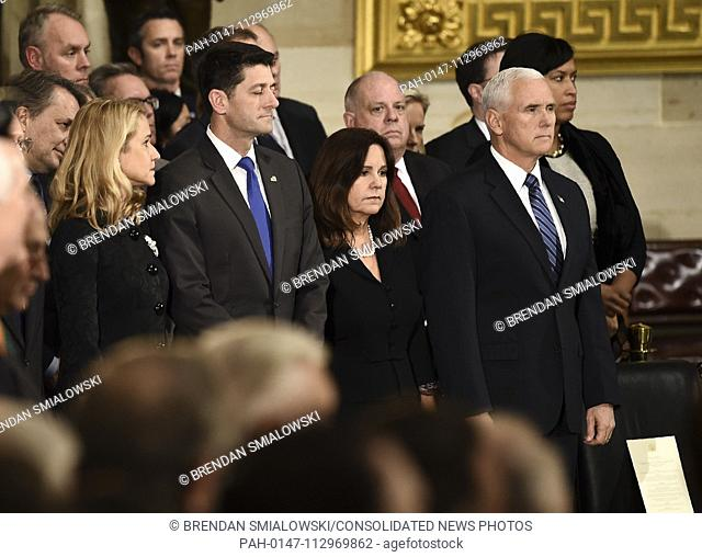 US Vice President Mike Pence (R), Second Lady of the United States Karen Pence (2R), Speaker of the United States House of Representatives Paul Ryan (R-WI) (2L)