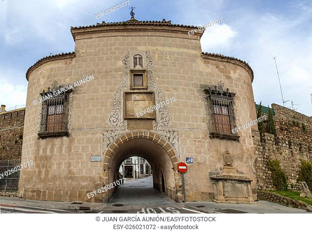Medieval Trujillo Door. Gate in the wall that protects the historic center of Plasencia, Caceres, Spain