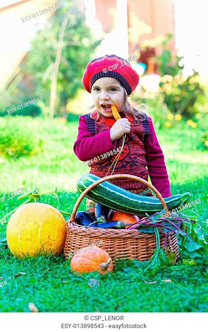 little girl sits on a grass near to a basket with vegetables and eats carrots
