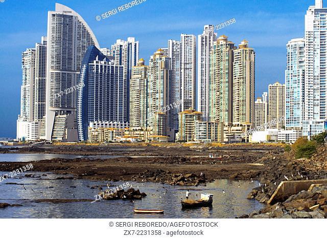 Skyline, Panama City, Panama, Central America. Cinta Costera Pacific Ocean Coastal Beltway Bahia de Panama linear park seawall skyline skyscraper modern
