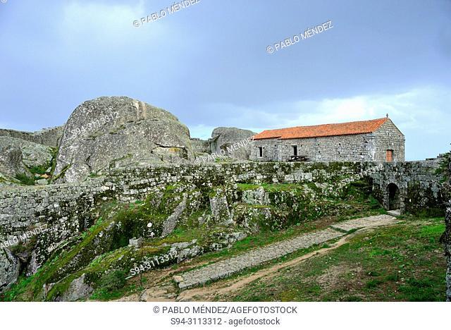 Walls and chapel in the castle area, Monsanto, Castelo Branco, Portugal