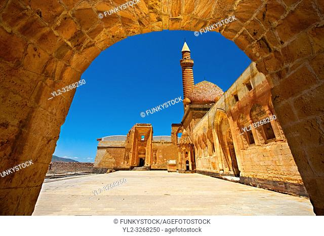 Courtyard of the 18th Century Ottoman architecture of the Ishak Pasha Palace, agri province of eastern Turkey. A UNESCO World Heritage Site