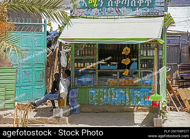 Tiny grocer's / grocery shop in village in the Hawzen woreda of the Tigray Region, Misraqawi Zone, Ethiopia, Africa