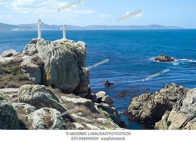 Death Coast with cross of dead fishermen in Galicia