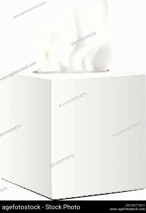 White square box with Paper Napkins. Realistic vector mockup packaging for your design