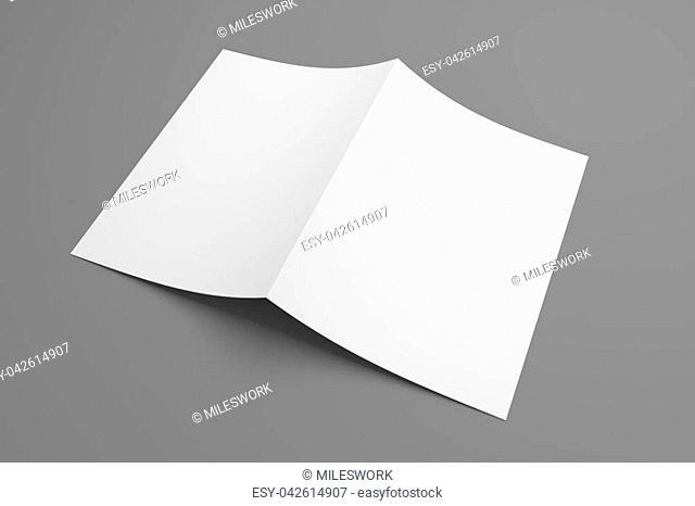 Blank white template paper on grey background. 3D illustration mockup leaflet or brochure