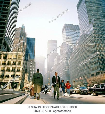 Early morning street scene in Manhattan in New York City in the United states of America USA