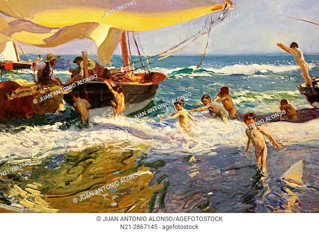 Joaquin Sorolla's Playa de Valencia, painted in 1908. Caixaforum, Girona, Catalonia, Spain, Europe