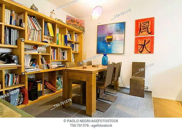 Italy,home interior, workspace and library