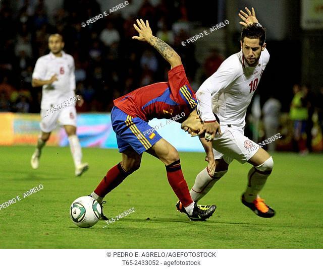 Spanish defender Hugo Mallo in play. Spain vs. Georgia, 2012 UEFA European Under-21 Championship qualification, Estadio Ángel Carro, Lugo, Galicia, Spain