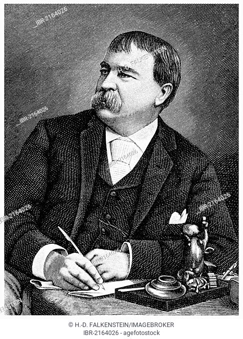 Historical illustration from the 19th Century, portrait of William Dean Howells, 1837 - 1920, an American writer, literary critic and magazine editor