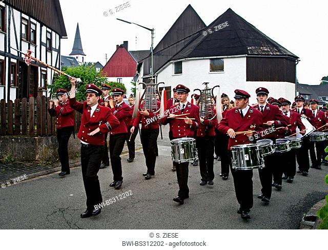 marching band at marksmen's festival in Ottfingen, Germany, North Rhine-Westphalia, Sauerland, Wenden-Huensborn