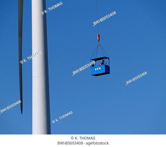 windpark Parndorf, Austria, cabin hovering in the sky, Austria, Burgenland, Northern Burgenland, Parndorf