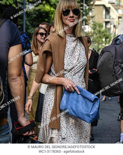 MILAN, Italy- September 19 2018: Lisa Aiken on the street during the Milan Fashion Week