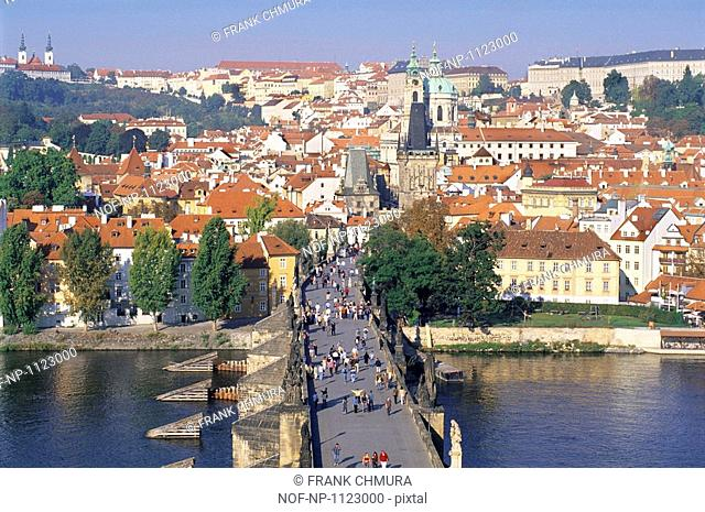 People walking on the Charles Bridge, Prague, Czech Republic