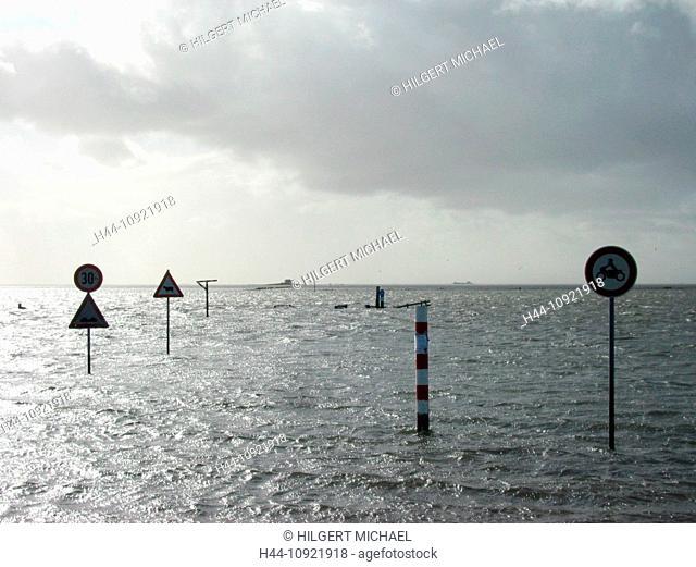 Tide, street signs, flood, Hamburg Hallig, Hallig, Wadden Sea, Hallig Islands, National Park, poles, North Sea, Schleswig-Holstein, Germany, Europe