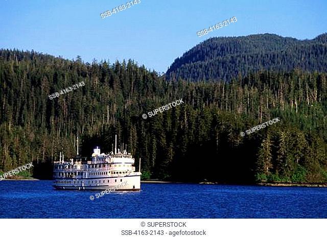 USA, ALASKA, INSIDE PASSAGE, NEVA STRAIT, NEAR SITKA, CRUISE SHIP SPIRIT OF 98