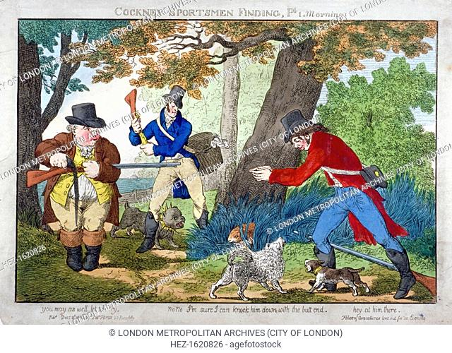 'Cockney Sportsmen Finding, Part 1. Morning', 1800. Three cits discovering a hare crouching by a tree and discussing ways of killing it
