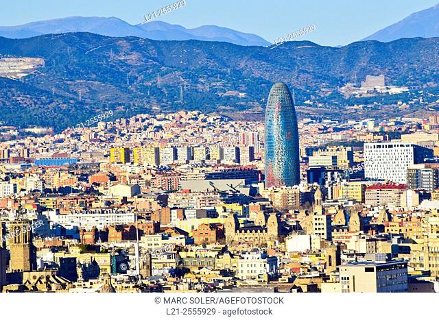 Urban landscape.  Agbar Tower designed by Jean Nouvel. Barcelona, Catalonia, Spain