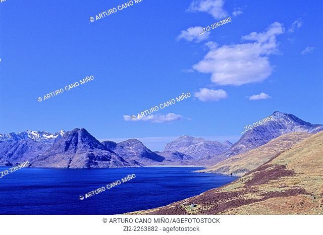 Mountains of Cuillin from Elgol, Isle of Skye. Scotland, United Kingdom