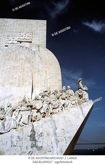 Monument to the Discoveries (Padrao dos Descobrimentos), 1960, by Leopoldo Neves de Almeida (1898-1975), on the bank of the Tagus (Tejo) river, Belem district