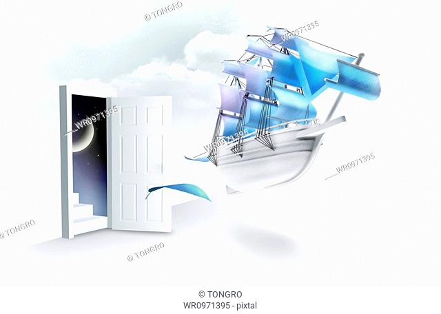 illustration of a sailboat in the sky