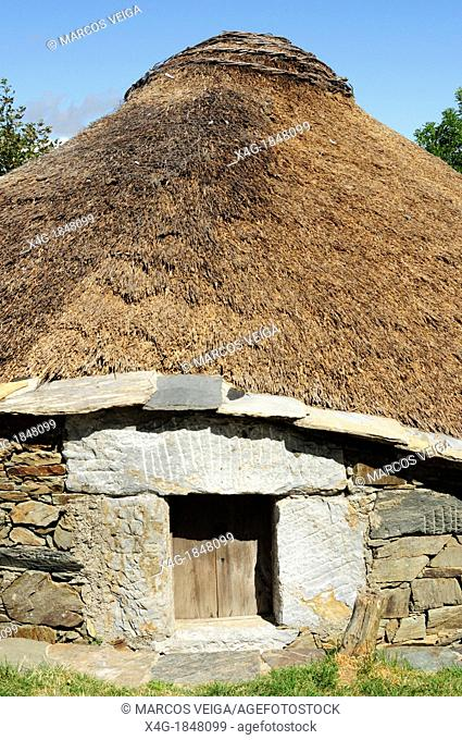 Traditional houses named 'pallozas' in the village of O Cebreiro, the Saint Jame's way entrance to Galicia
