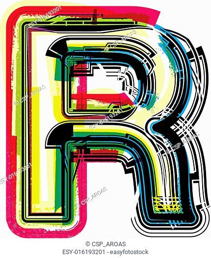 Colorful Grunge LETTER R