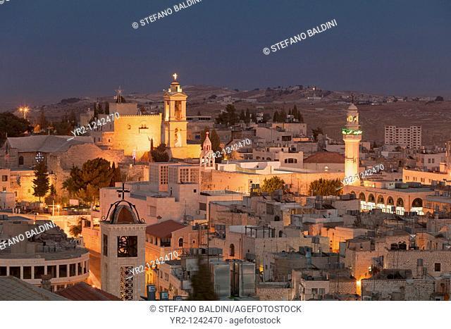 Panoramic skyline at night of Bethlehem, Palestine