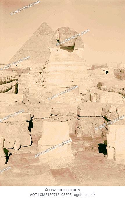 Egypt. Sphinx & pyramids. The Sphinx (full face) & two pyramids & temple in foreground. 1934, Egypt, Jizah, Jizah